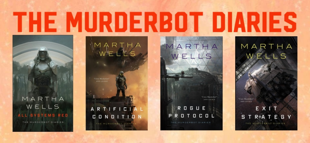 Four cover artworks for Martha Wells novellas: All Systems Red, Artificial Condition, Rogue Protocol, and Exit Strategy