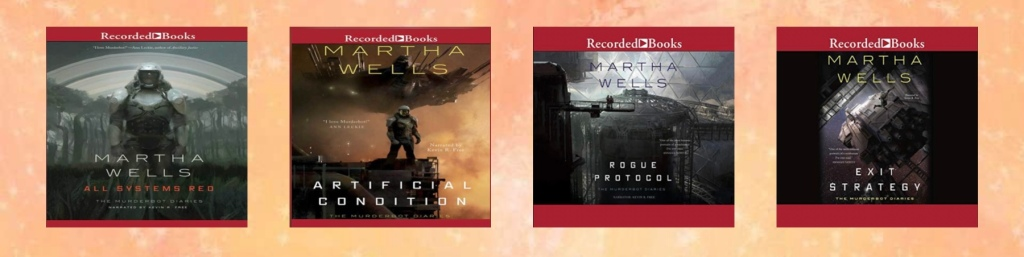 Audiobook cover art for All Systems Red, Artificial Condition, Rogue Protocol, and Exit Strategy